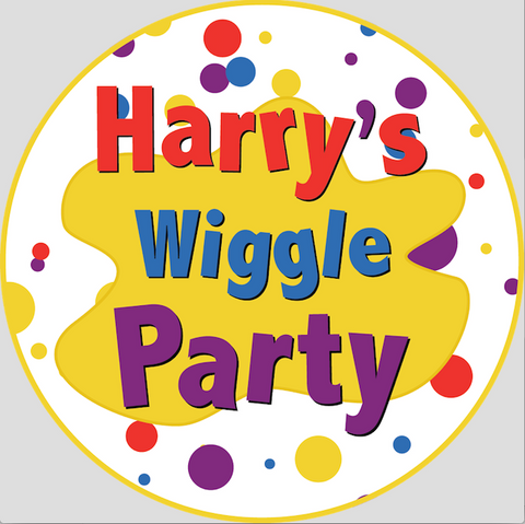 Personalised party stickers Wiggles theme