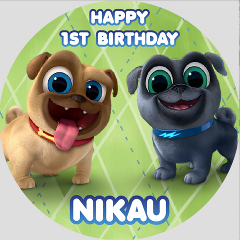 Personalised party stickers Puppy Dog Pals theme