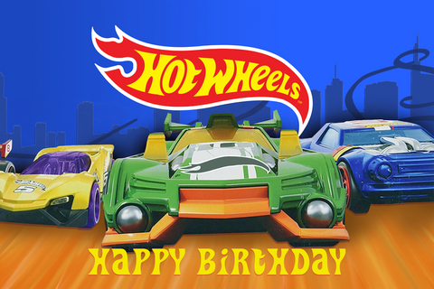 Hot Wheels happy birthday vinyl backdrop