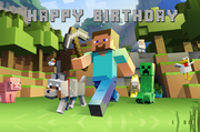 Minecraft plain happy birthday vinyl backdrop