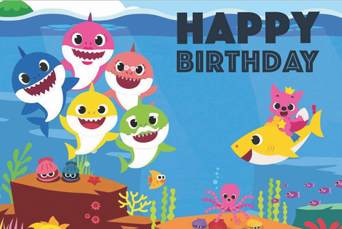 Baby Shark happy birthday vinyl backdrop
