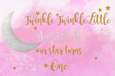 Twinkle twinkle little star pink and gold vinyl backdrop