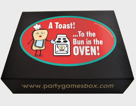 Baby shower games party box