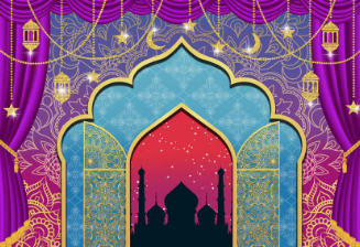 Aladdin themed personalised vinyl backdrop