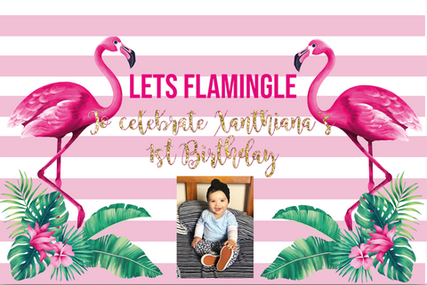 Flamingo vinyl personalised backdrop