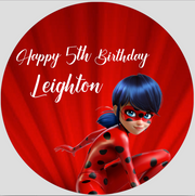 Ladybug and cat noir personalised party stickers