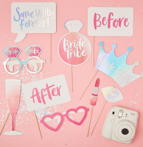Iridescent hens party photobooth props