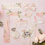 Rose gold hens party photobooth props