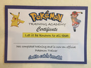 Pokemon party games certificate