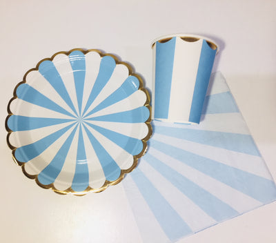 Blue gold striped tableware