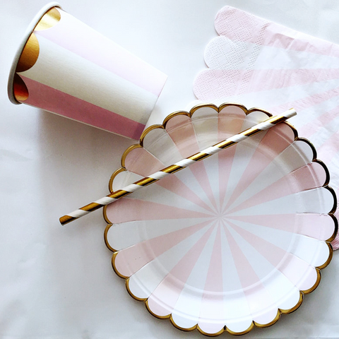 Pink and gold party supplies
