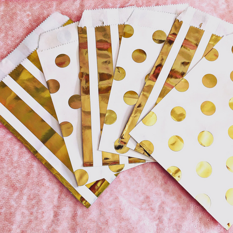 Gold spot and gold stripe party gift bags