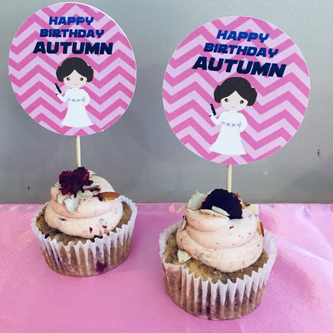 Princess Leia personalised cupcake toppers