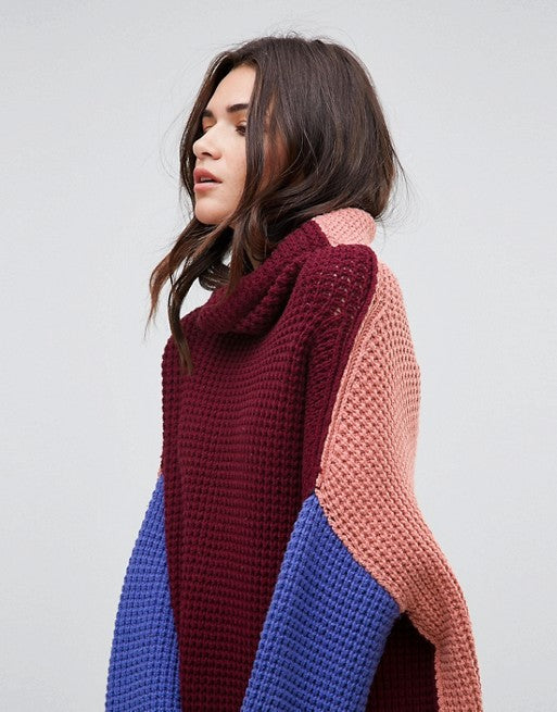 Free People Colorblock Park City Maroon Purple Oversized Turtleneck