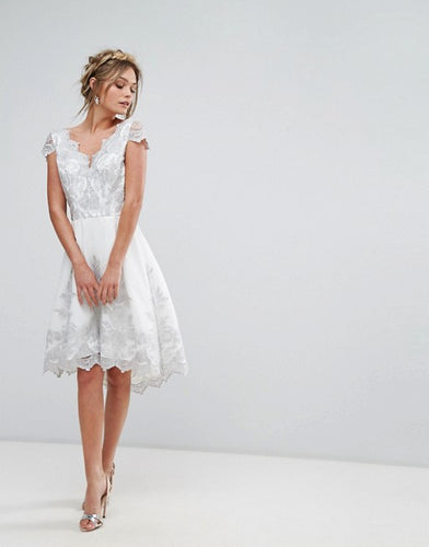 White Silver Lace Cap Sleeve Midi Dress with Scalloped Back