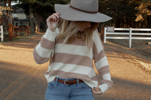 spring striped pink and white sweater