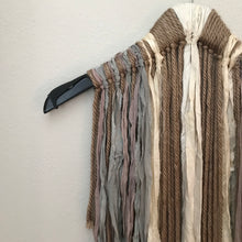 Load image into Gallery viewer, Taupe Yarn and Recycled Chiffon & Sari Ribbon Wall Hanging