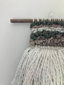 Pastel Wall Weaving | Sage Woven Tapestry | White Accent Wall Decor | Ribbon Wall Hanging | Textured Wall Art