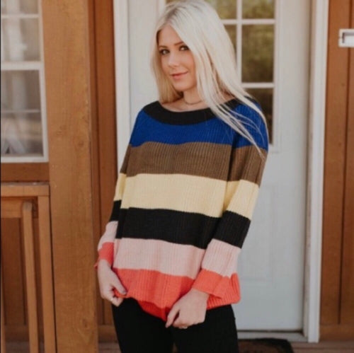 Rainbow Oversized Chunky Off the Shoulder Striped Sweater
