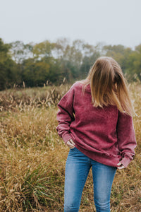 The Reddy Pilot: An Oversized Acid Wash Red Crewneck