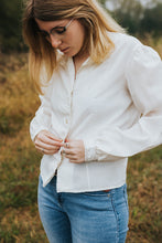 Load image into Gallery viewer, The Isabel: A Creamy White Peasant Mandarin Button Up Blouse
