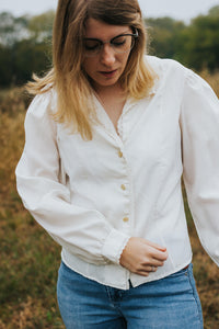 The Isabel: A Creamy White Peasant Mandarin Button Up Blouse