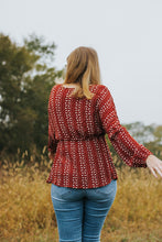 Load image into Gallery viewer, Autumn: A Floral Print Rust Balloon Sleeve V-Neck Blouse
