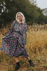 Caitlin: An Autumn Floral Bohemian Long Sleeve Midi Dress