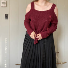 Load image into Gallery viewer, Maroon Cold Shoulder Sweater