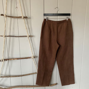 Brown High Waisted  Corduroy Textured Pants