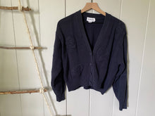 Load image into Gallery viewer, Blue Chunky Knit Floral Button Cardigan