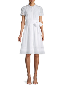 Tommy Hilfiger White Embroidered Knee Length Dress