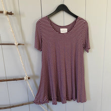 Load image into Gallery viewer, Maroon Striped Swing Tee