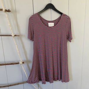 Maroon Striped Swing Tee