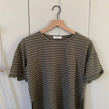 Load image into Gallery viewer, Olive Green Striped Slit Tee