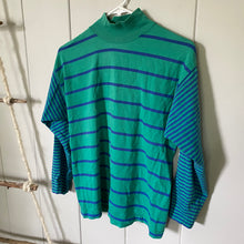 Load image into Gallery viewer, Green and Blue Striped Turtleneck