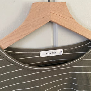 Olive Green Striped Slit Tee