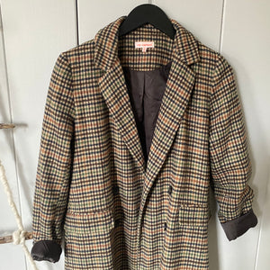 Brown Plaid Lapel Blazer Coat