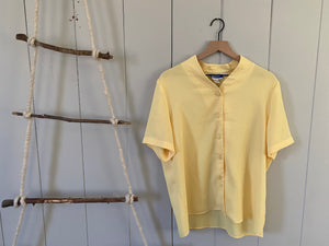 Yellow Semi Sheer Button Blouse
