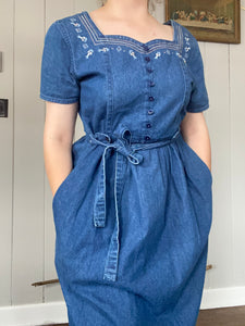 Denim Floral Embroidered Maxi Dress
