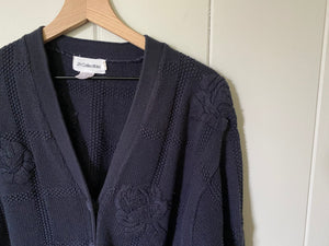 Blue Chunky Knit Floral Button Cardigan