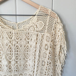 Cream Crochet See Through Blouse