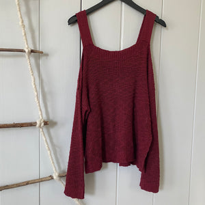 Maroon Cold Shoulder Sweater