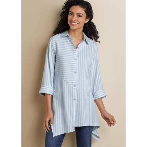 Soft Surroundings Blue Striped Asymmetrical Standout Blouse
