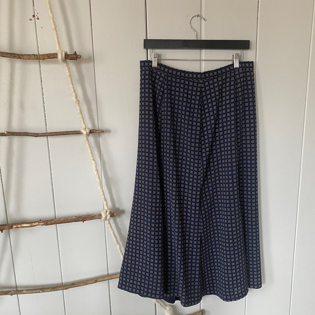 Blue Square Patterned Maxi Skirt