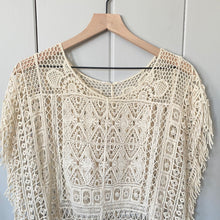 Load image into Gallery viewer, Cream Crochet See Through Blouse