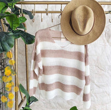 Load image into Gallery viewer, spring striped pink and white sweater