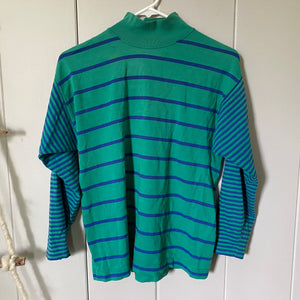 Green and Blue Striped Turtleneck