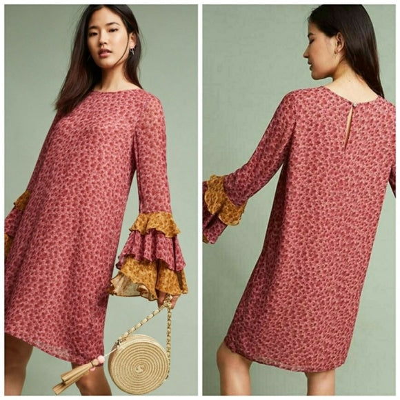 Anthropologie Floral Ruffle Bell Sleeve Shift Dress