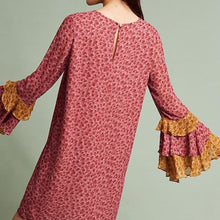 Load image into Gallery viewer, Anthropologie Floral Ruffle Bell Sleeve Shift Dress